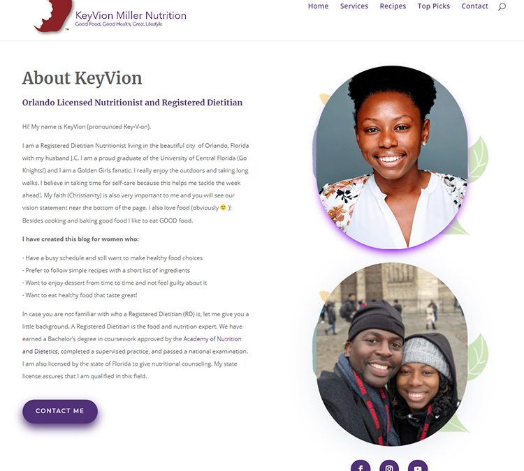 KeyVion Miller Nutrition | Custom Divi Website