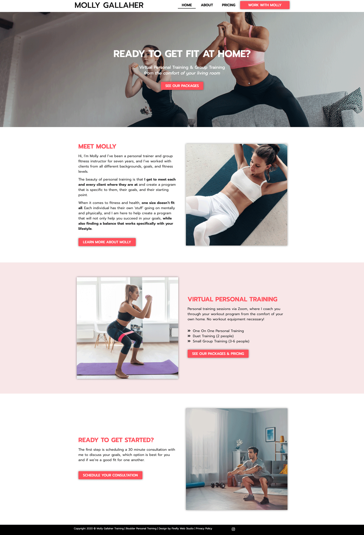 homepage for personal training website