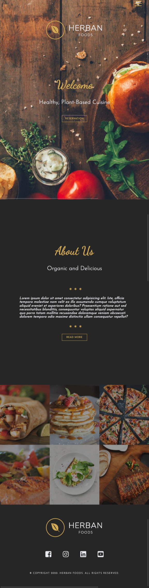 responsive restaurant website - tablet view
