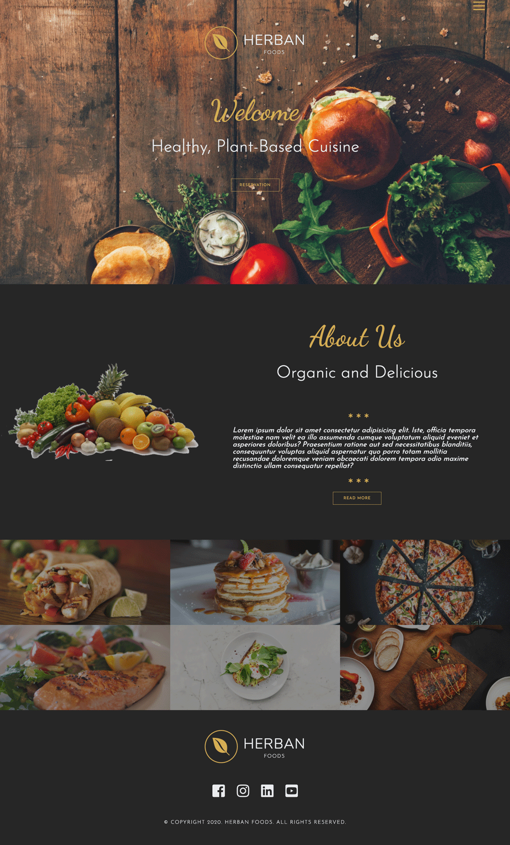 responsive restaurant website mockup - desktop view