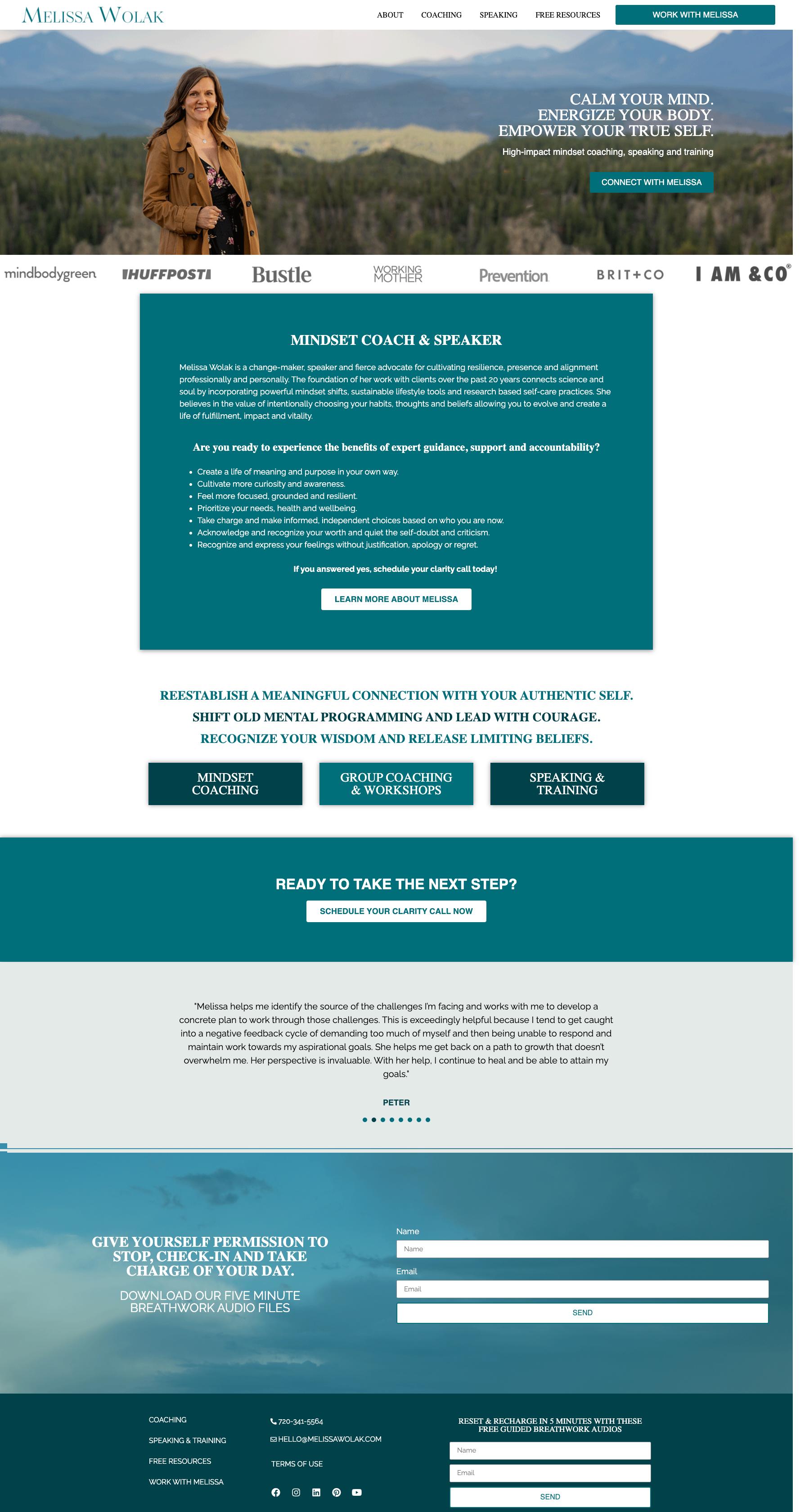 custom coaching website homepage