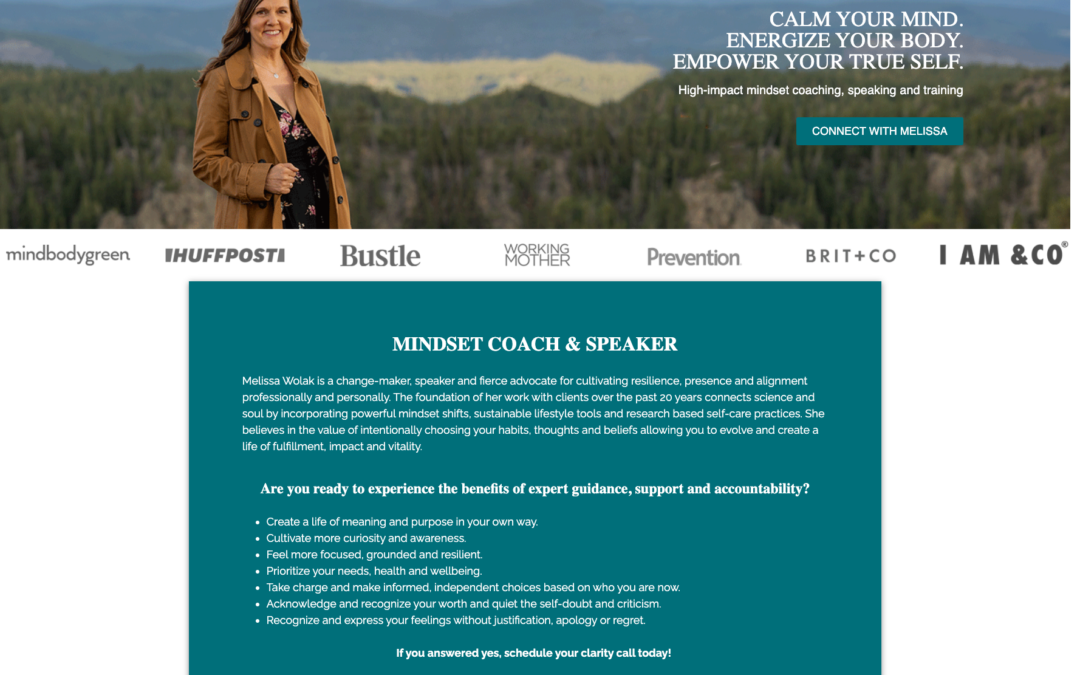 CUSTOM COACHING WEBSITE | MELISSA WOLAK