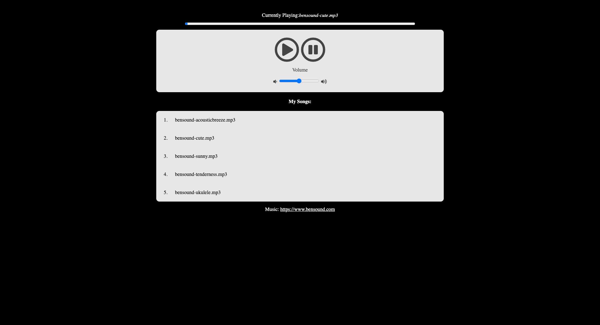 JavaScript Music Player