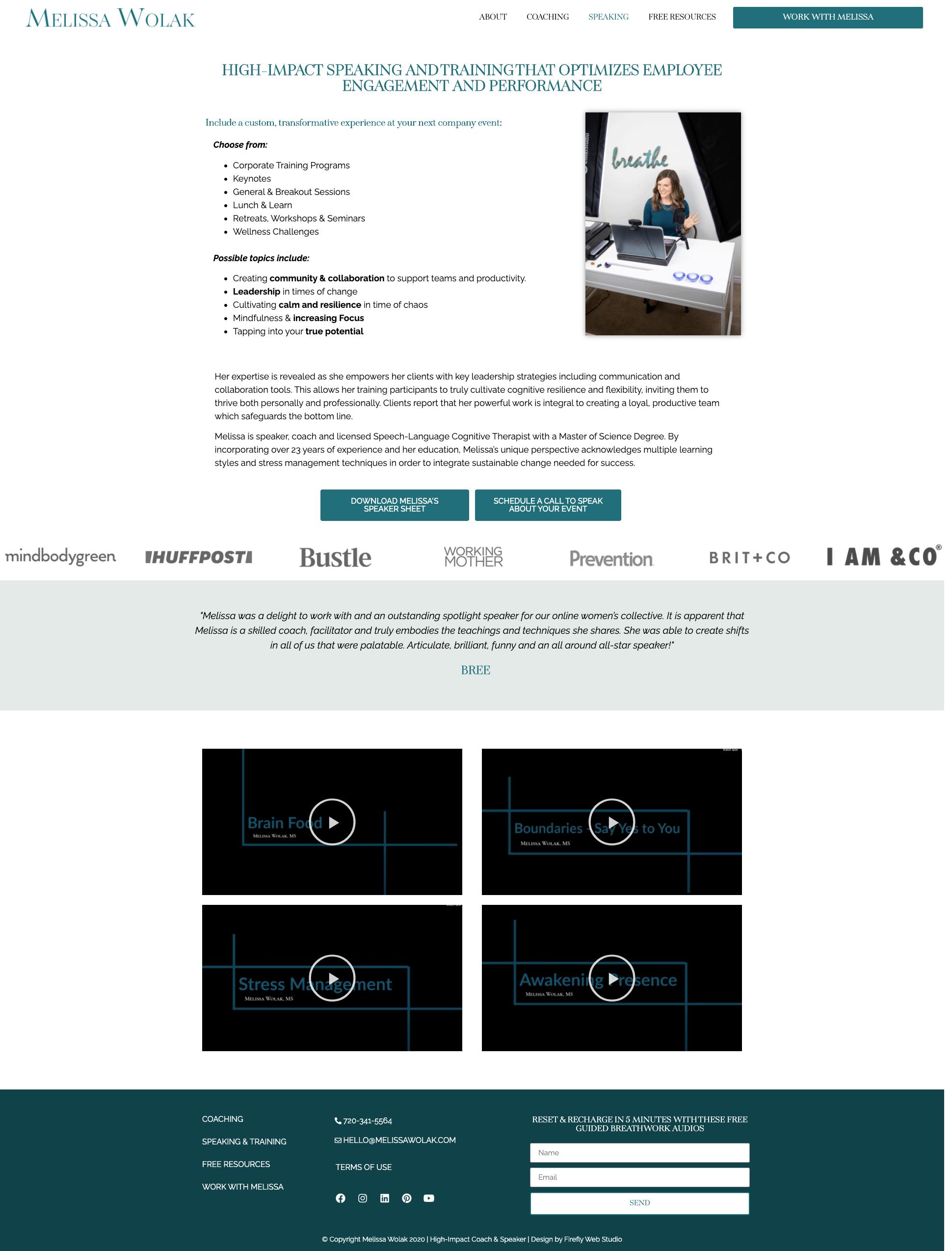 custom coaching website speaking page