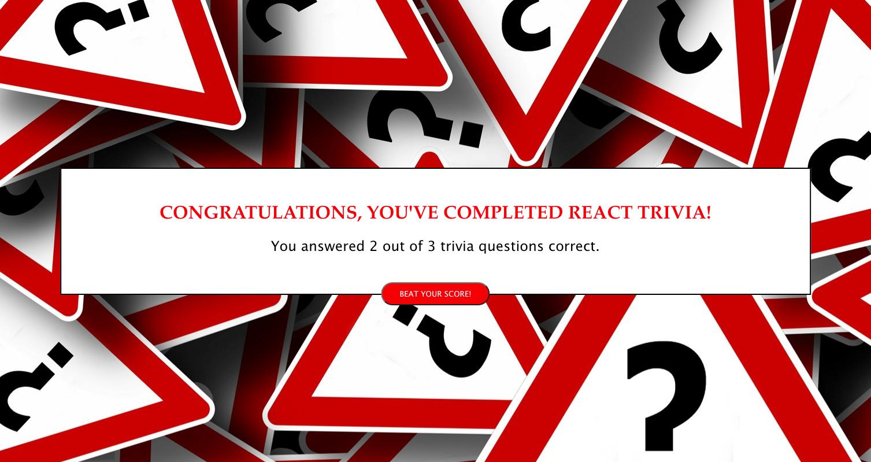 React trivia quiz score page