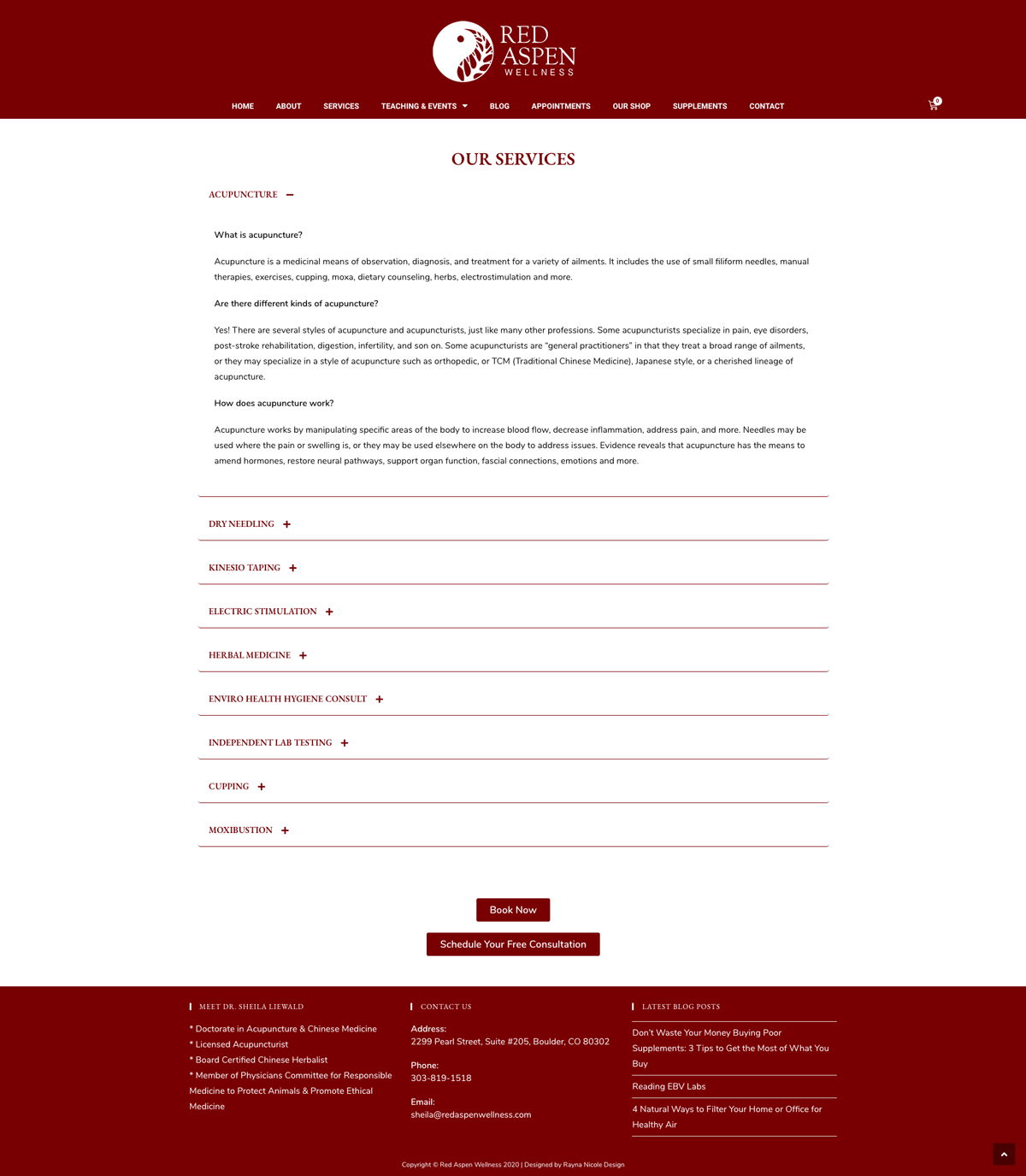 custom acupuncture website - services page